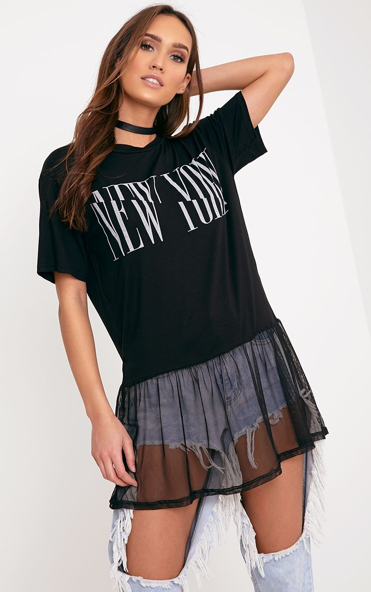 NEW YORK Spliced Slogan Black Mesh Hem T Shirt