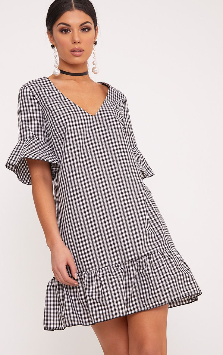 Fenaline Black Gingham Plunge Frill Detail Shift Dress