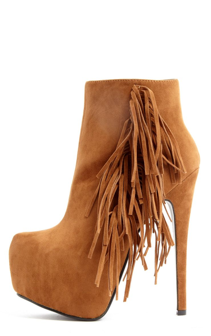 Ally Tan Fringe HIgh Heel Ankle Boots 1