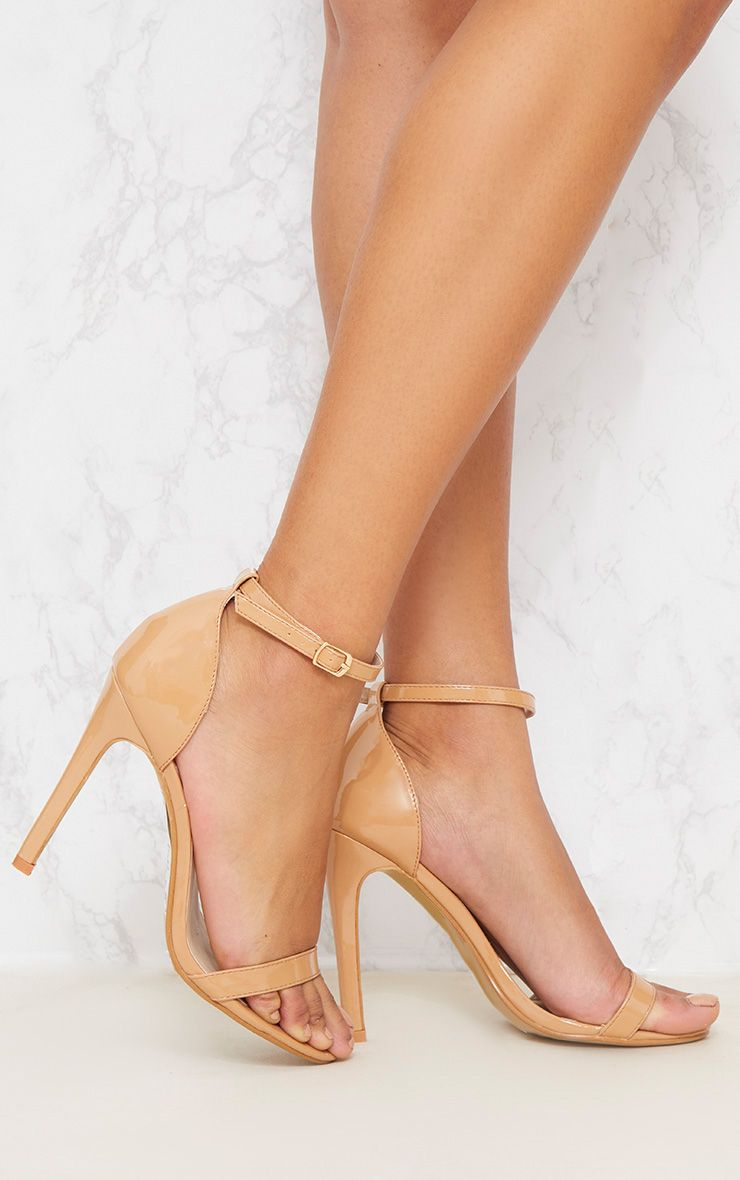 PRETTYLITTLETHING Nude Patent Strappy Point toe Heels NfsLkB