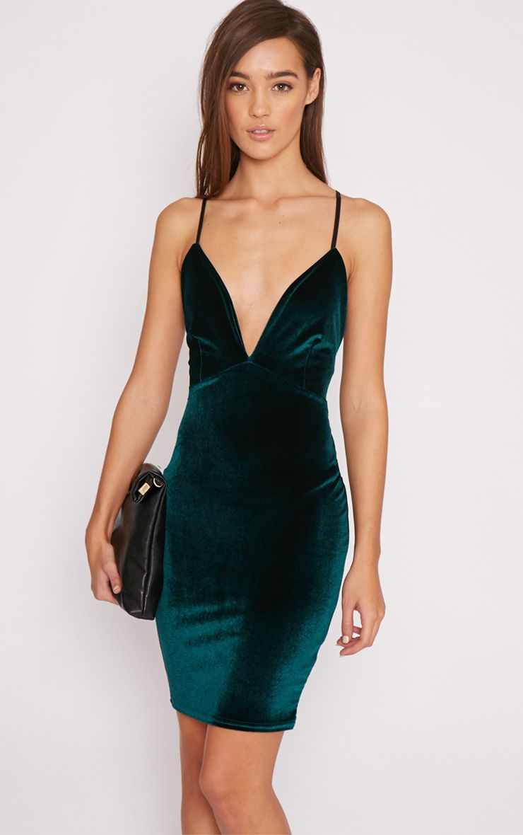 Zina Green Velvet Mini Dress 1