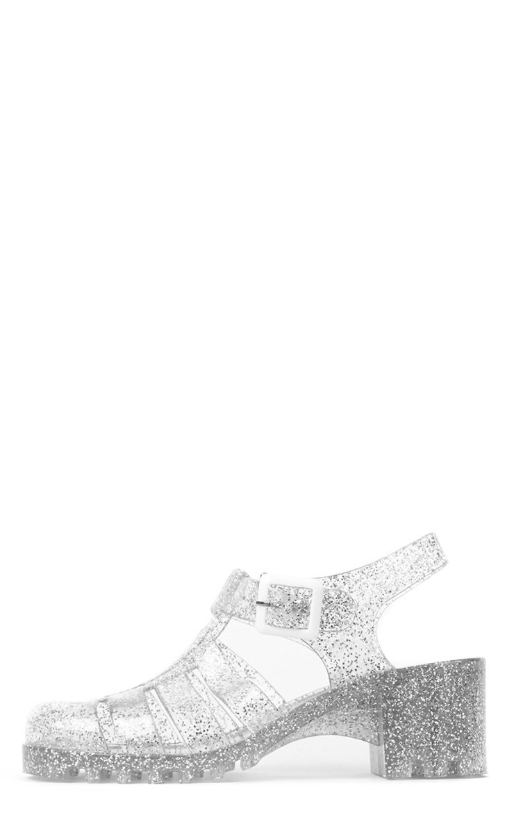 Billie Silver Glitter Heeled Jelly Sandals 1