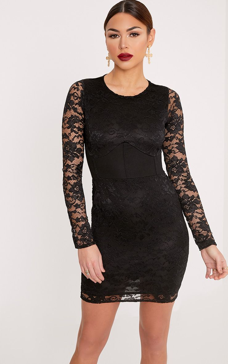 Maya Black Lace Corset Detail Bodycon Dress