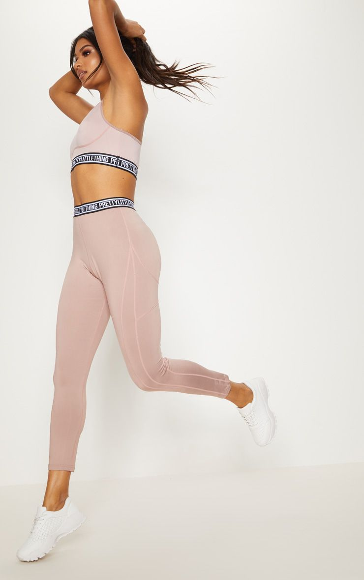 Taupe Contrast Stitch Sports Leggings 1
