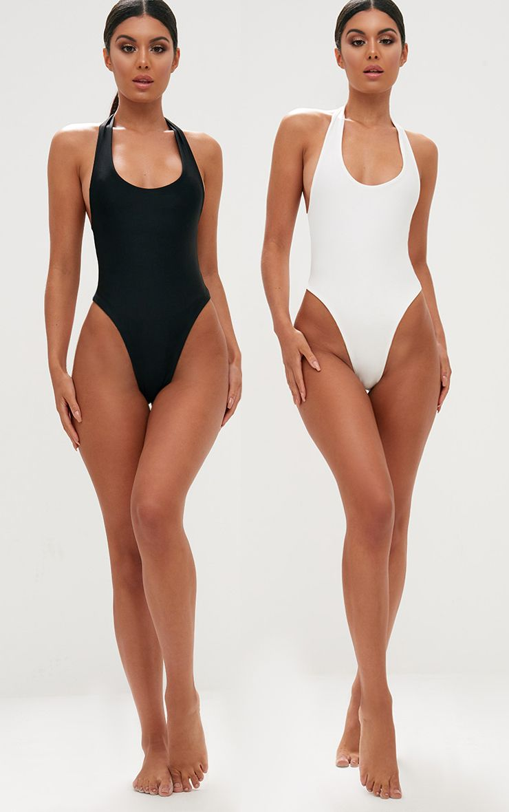 Black/White 2 Pack High Leg Swimsuit