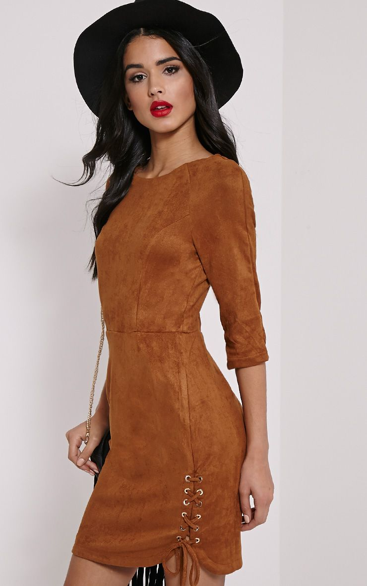 Brooke Camel Lace Up Detail Suede Dress 1
