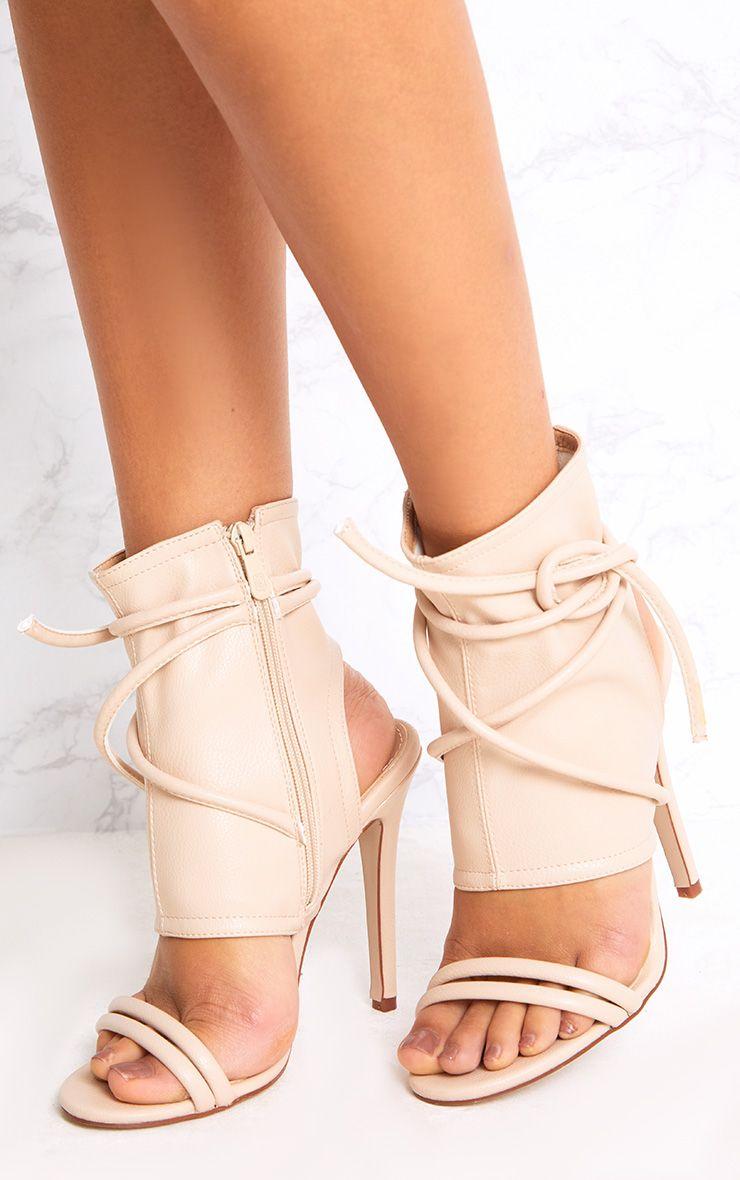 Elrica Nude Tie Ankle Sock Heels