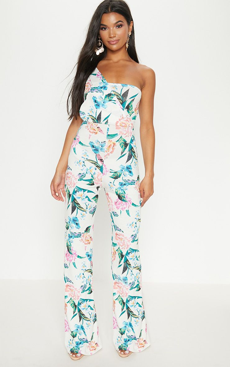 Cream Floral Jersey Drape One Shoulder Jumpsuit