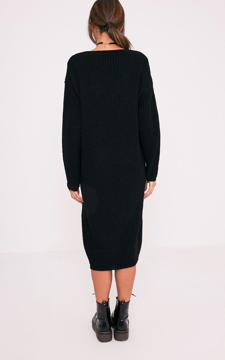 Breeze robe pull surdimensionnée à col en V noire 2