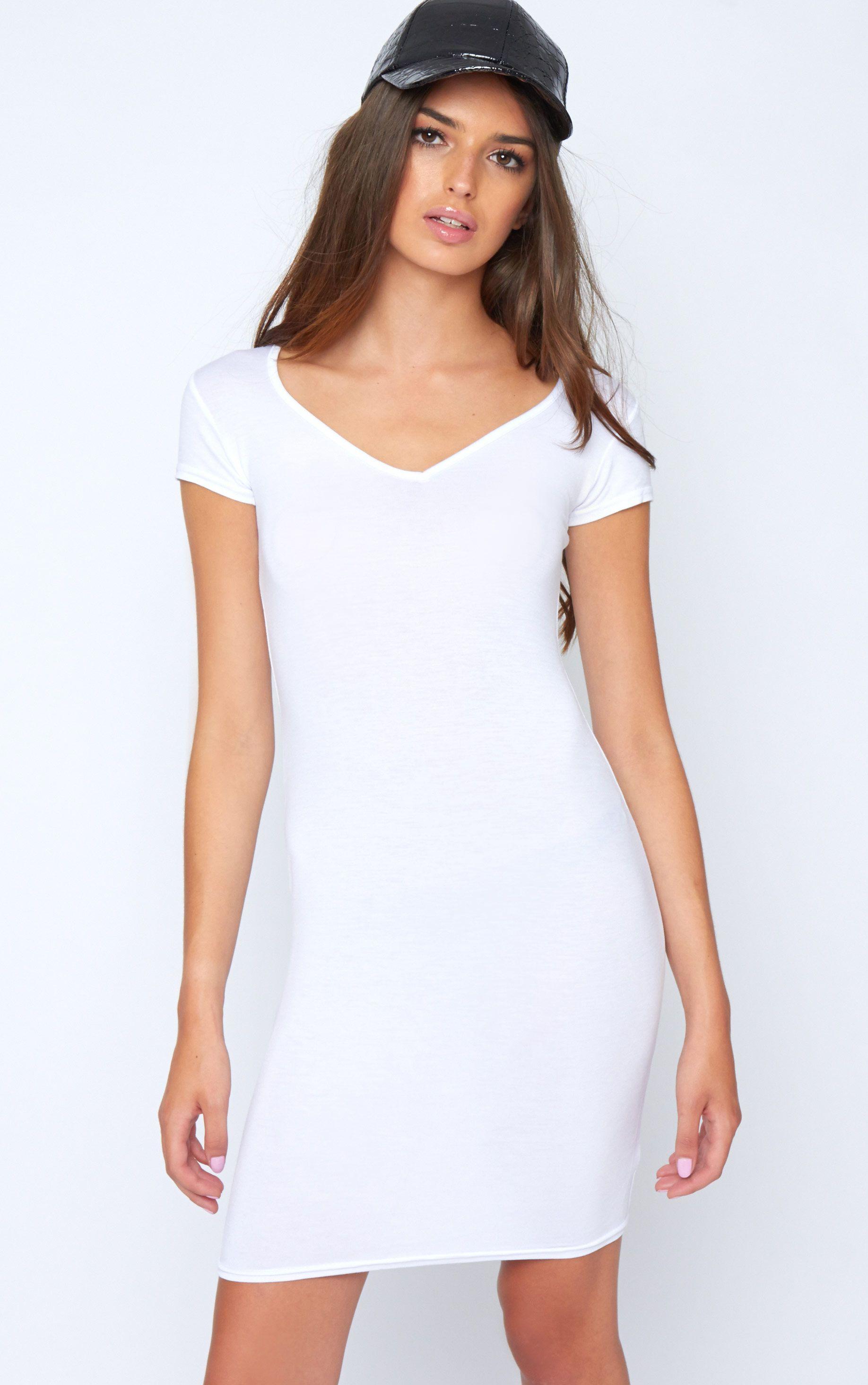 Finola White Jersey V Neck Dress 1