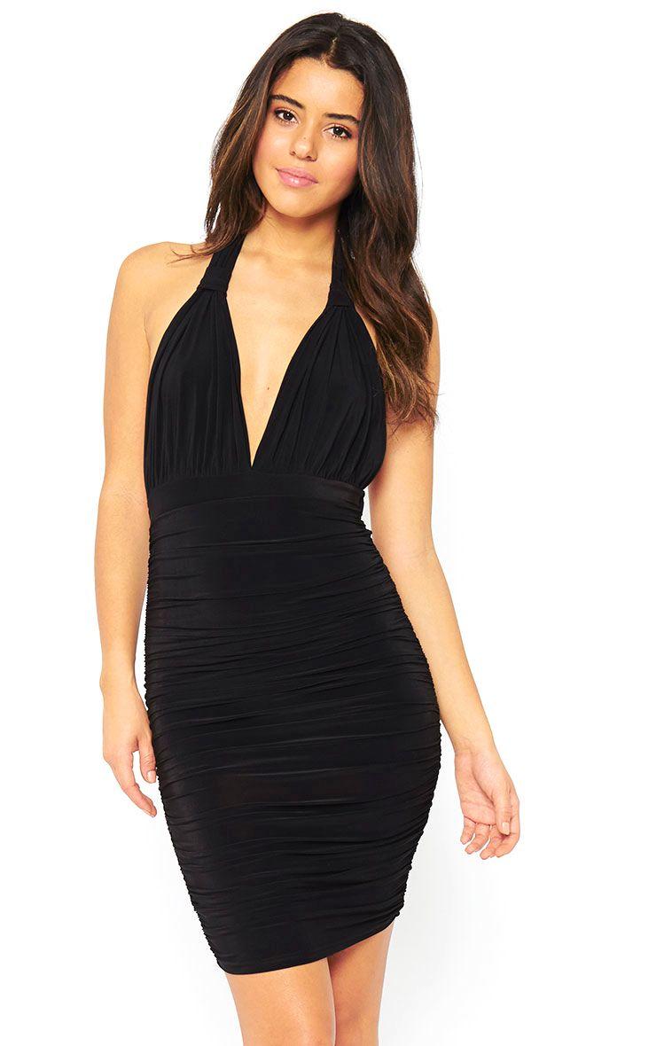 Ambrosia Black Plunge Neck Ruched Side Dress 1