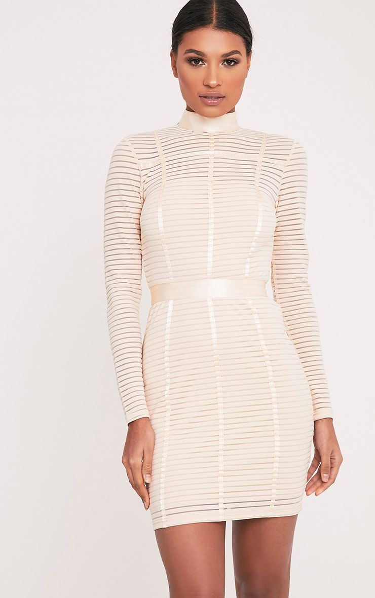 Carliah Nude Binding Detail Striped Mesh Bodycon Dress