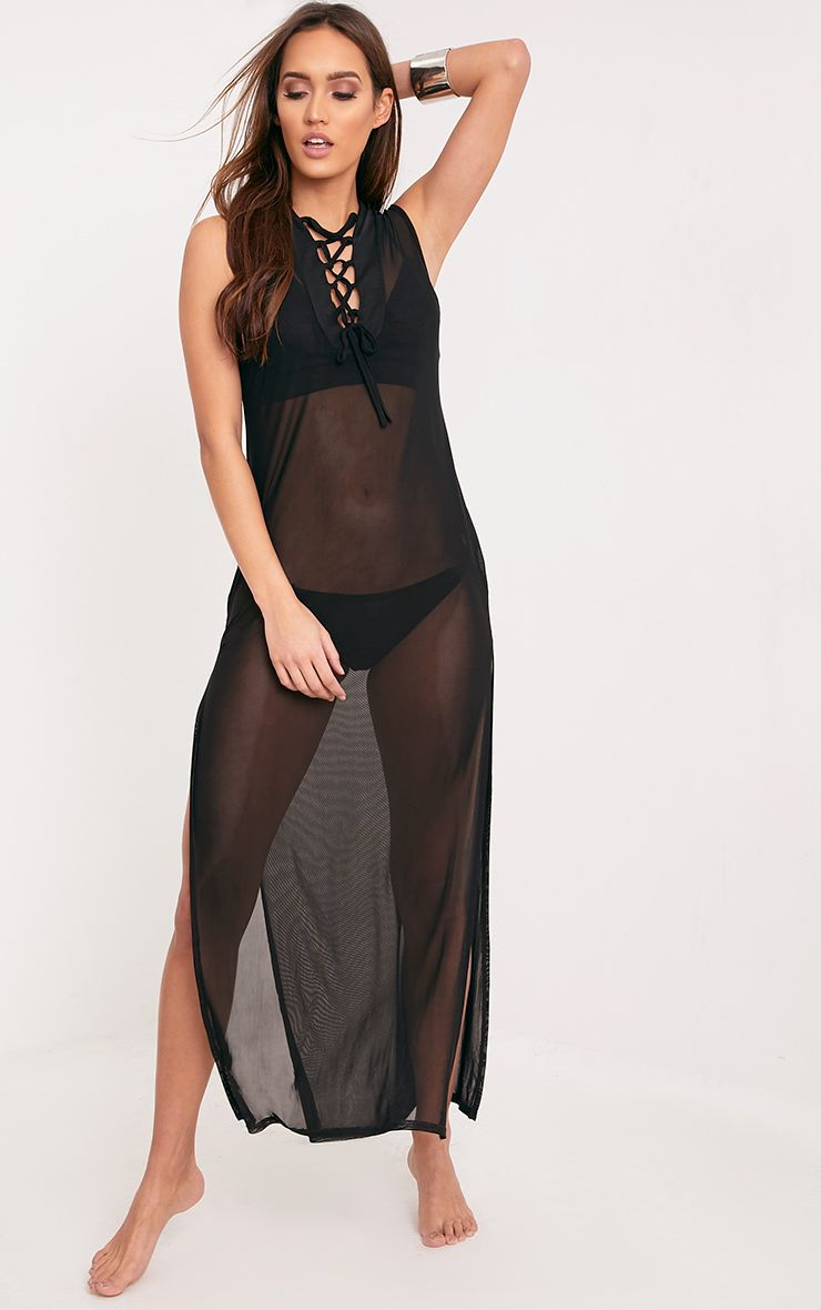 Emille Mesh Sleeveless Lace Up Maxi Cover Up Black