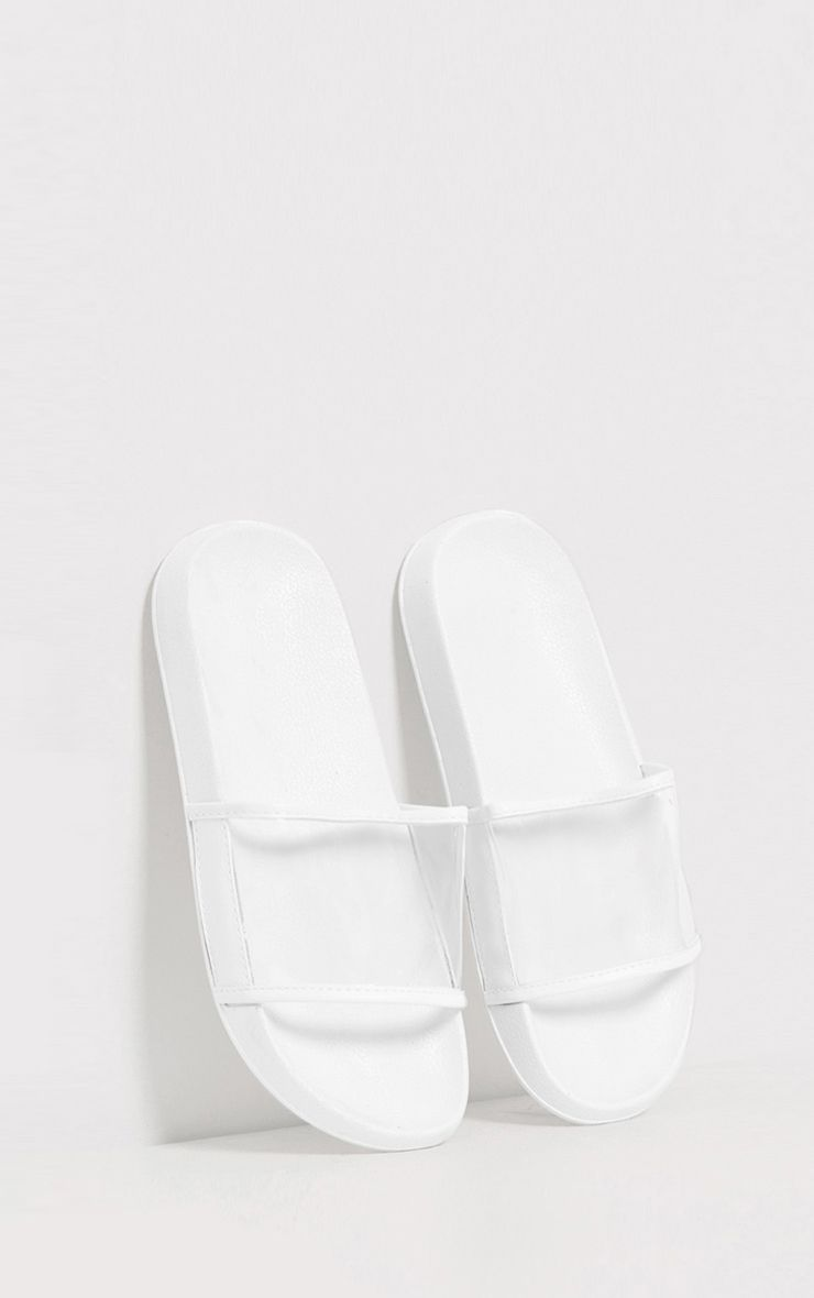 Janette White Clear Strap Sliders