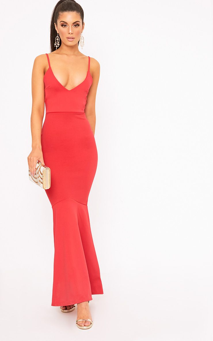 Red Plunge Fishtail Maxi Dress