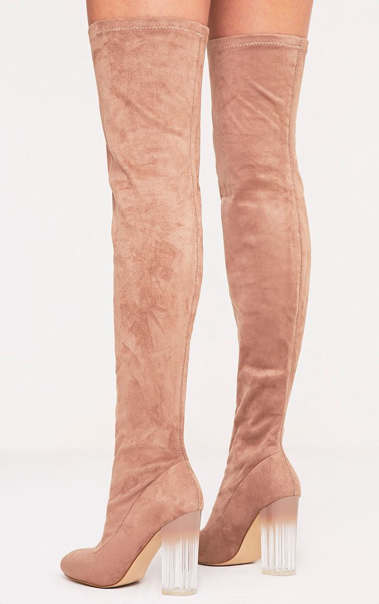 Fran Taupe Faux Suede Ombre Heel Over The Knee Boots 4
