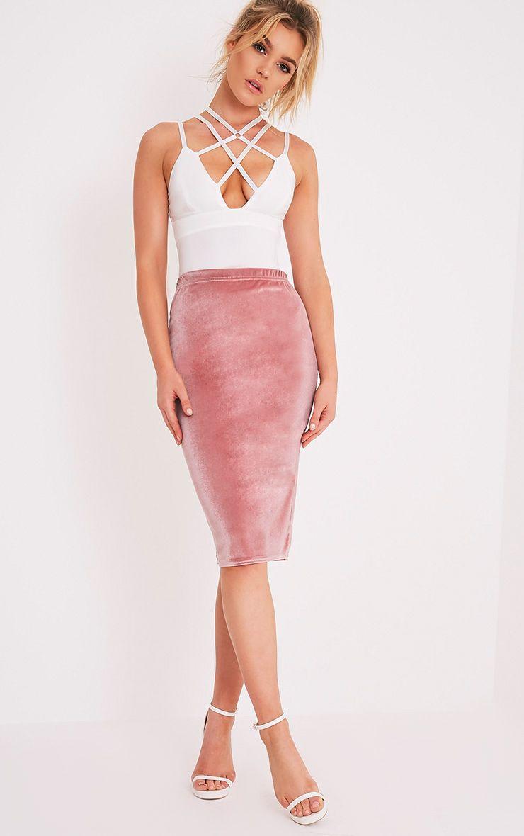 Roberta Dusty Pink Velvet Midi Skirt 1