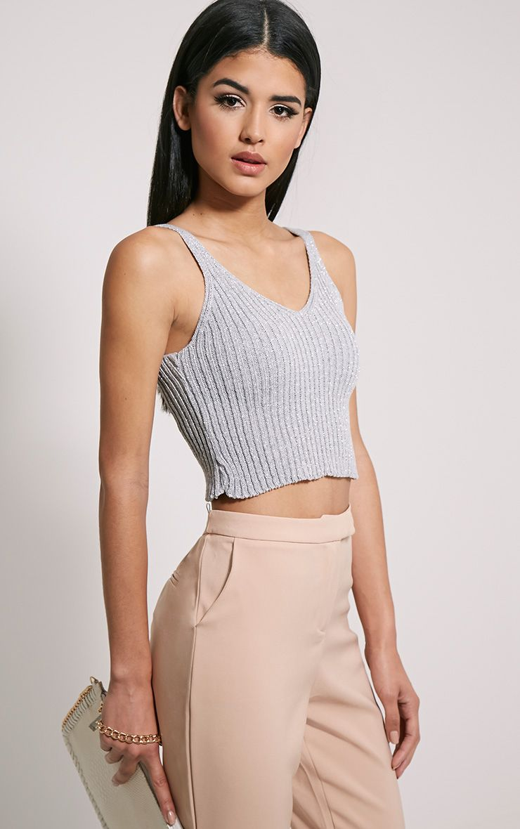 Naya Silver Glitter Knitted Vest Top 1