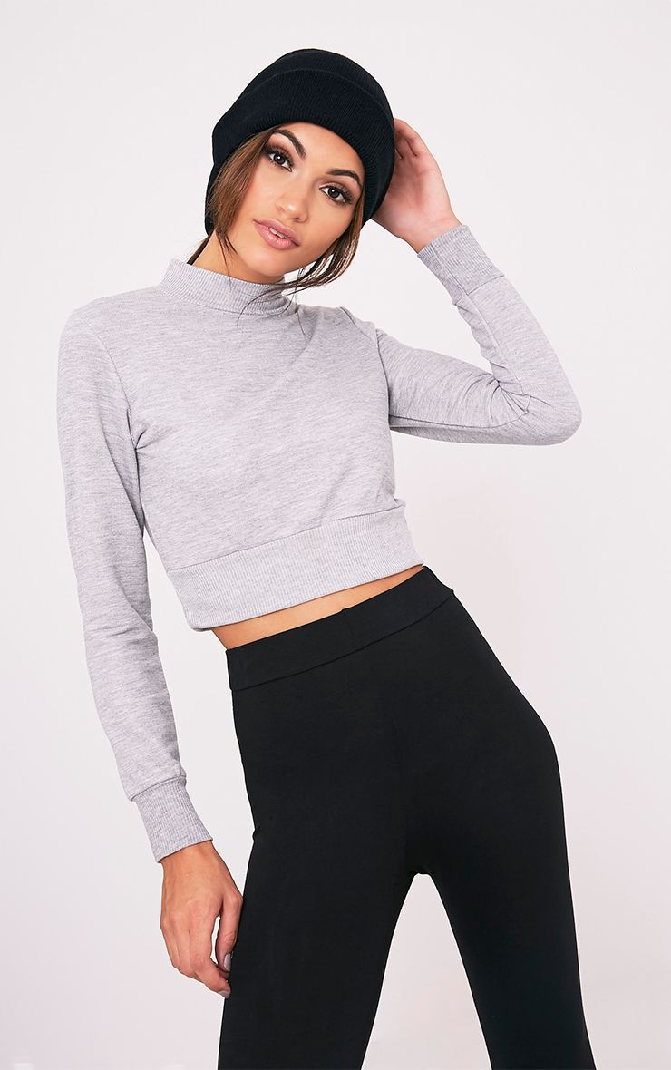 Emiliana Grey Crop Sweatshirt 1
