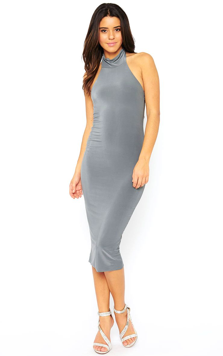 Monroe Grey High Neck Midi Dress 1