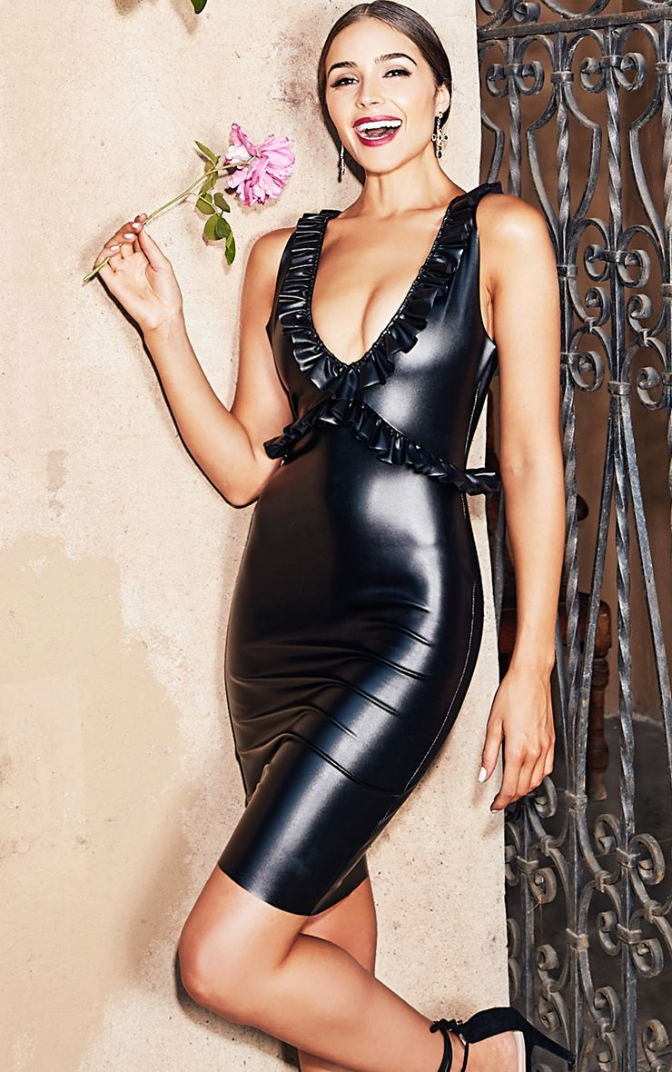Black Faux Leather Frill Detail Bodycon Dress