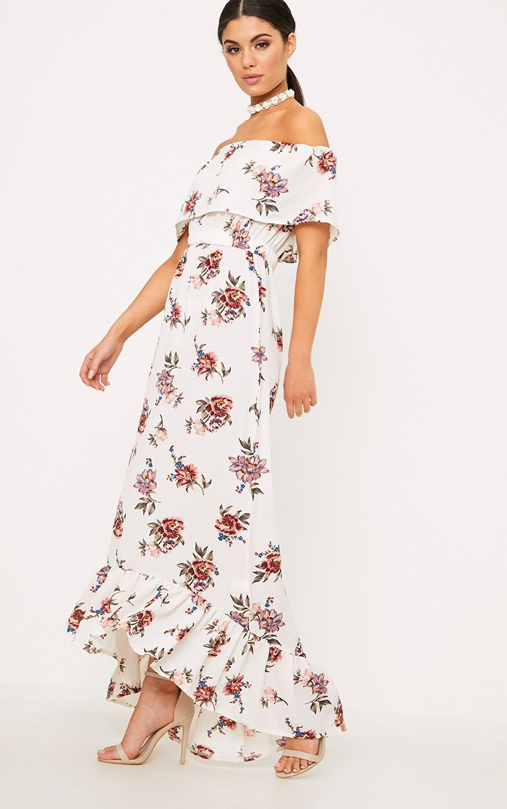 Julianna White Bardot Floral Maxi Dress