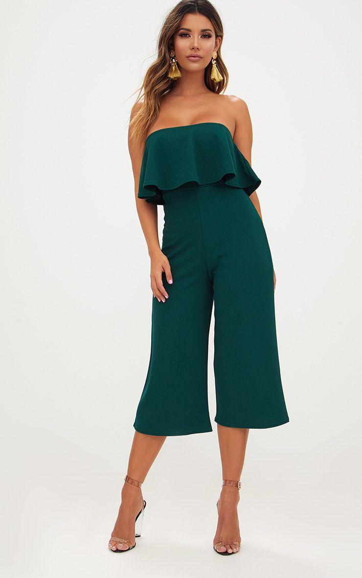 Emerald Green Bardot Double Layer Culotte Jumpsuit