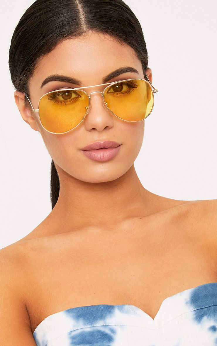 Kelie Yellow Tinted Lens Aviators