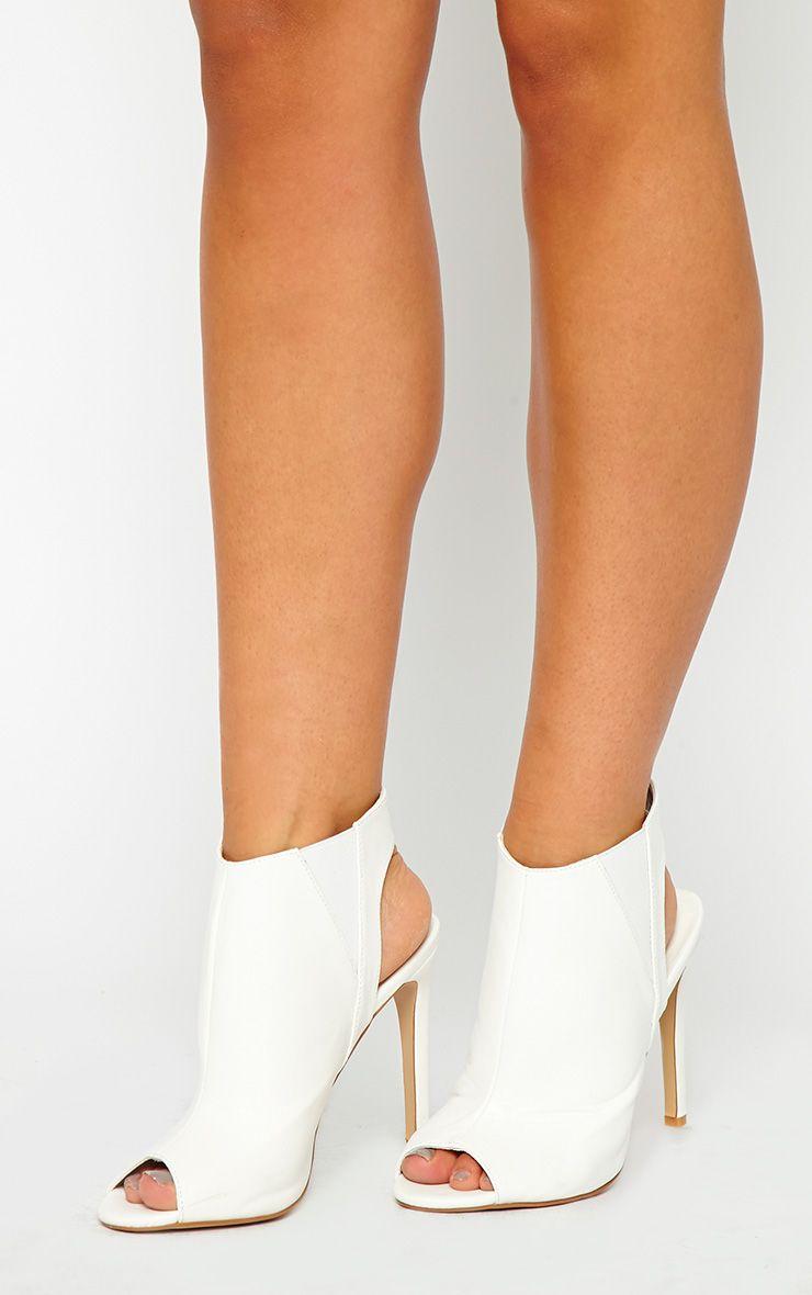 Raeanne White Open Heel Shoes 1