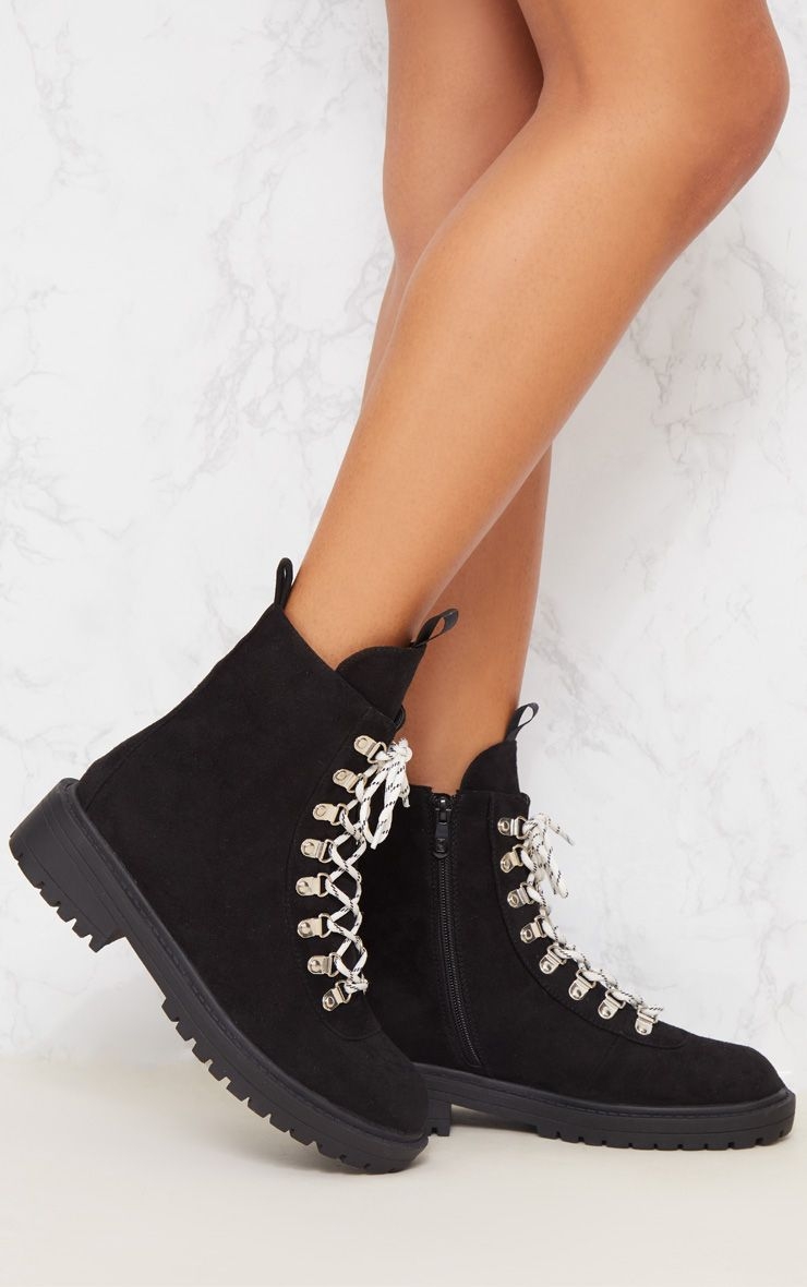 Black Chunky Contrast Lace Up Hiker Boot