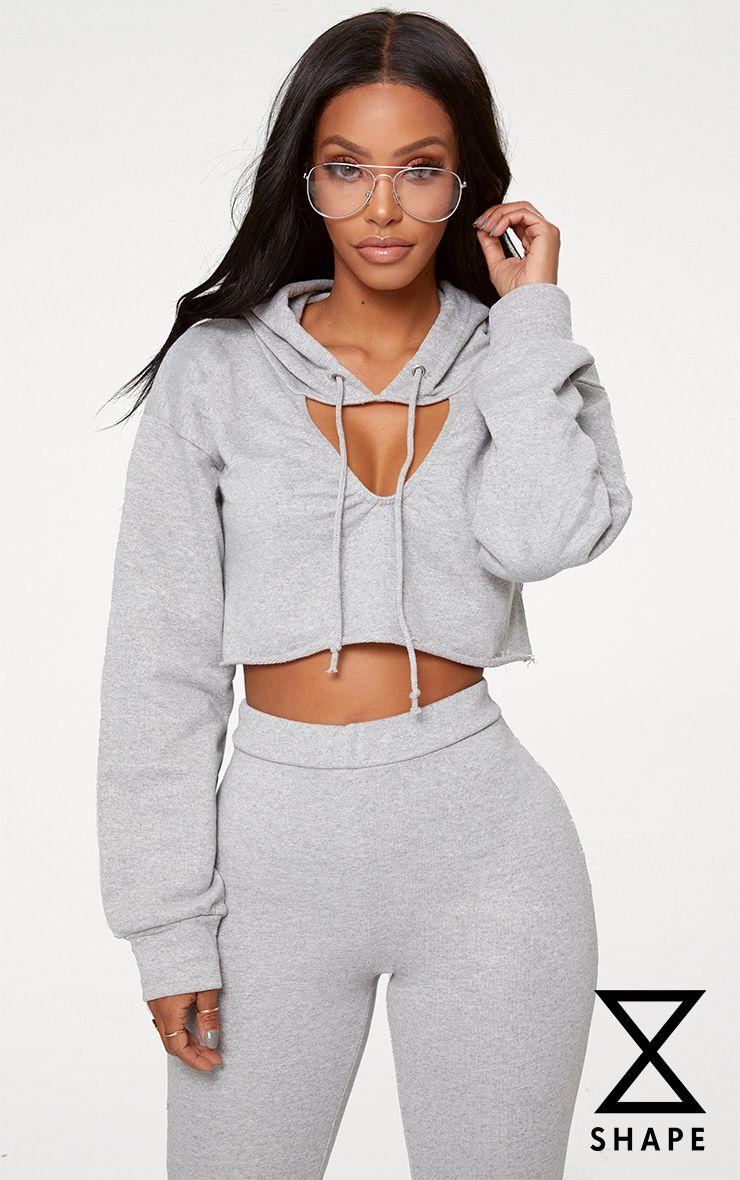 Shape Grey Crop Open Neck Hoodie