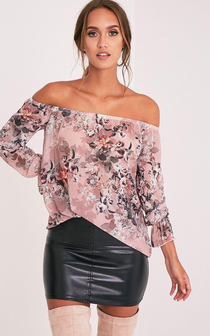Graciel Pink Floral Bardot Top
