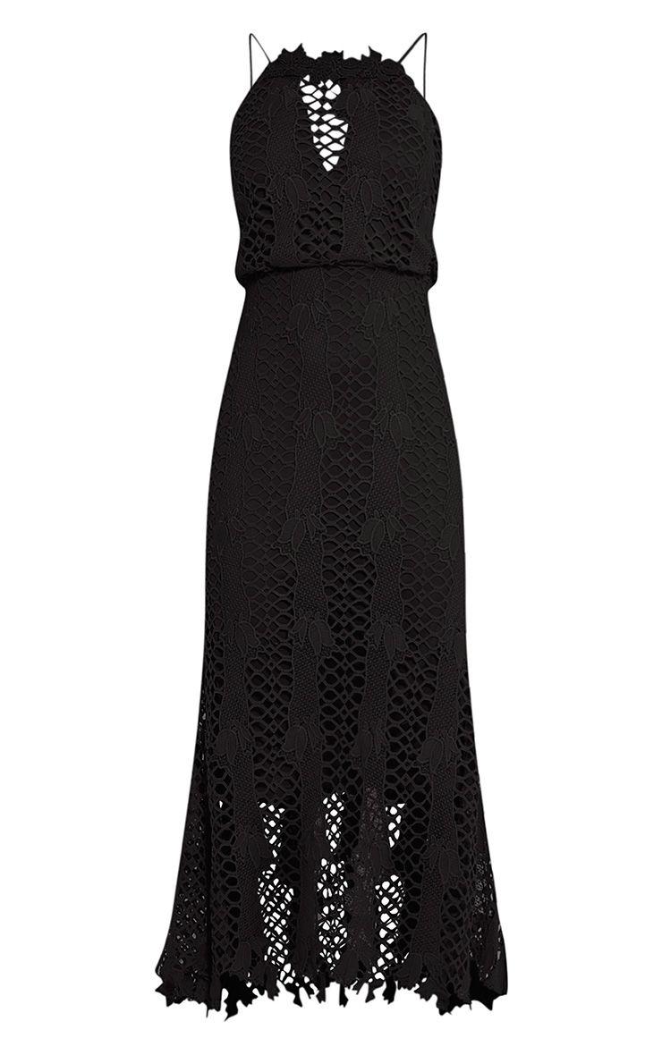 Reeya Premium robe midaxi en dentelle noire 3