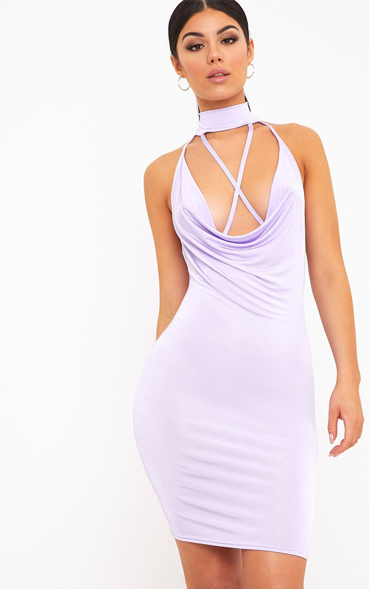 Jesime Lilac Slinky Cowl Neck Bodycon Dress