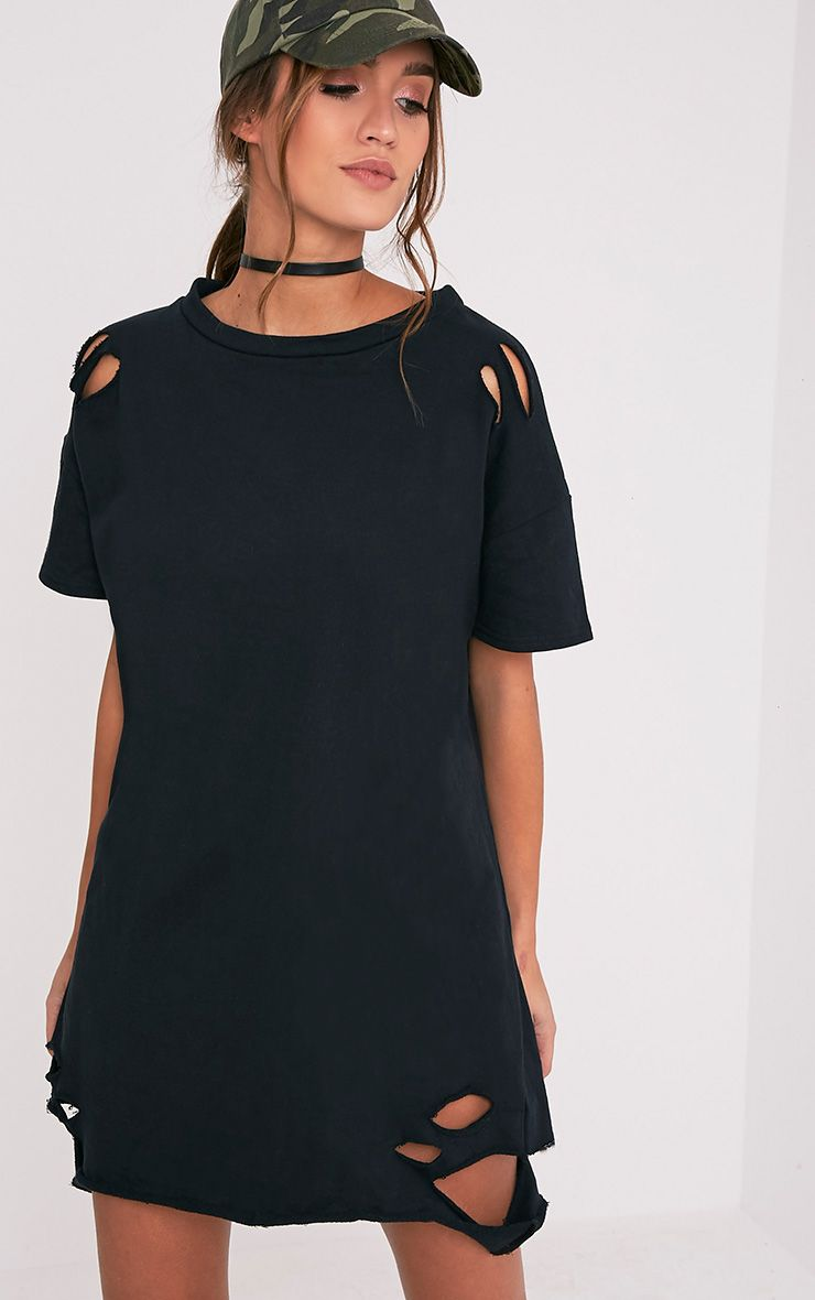 Orla Black Distressed Short Sleeve Sweater Dress
