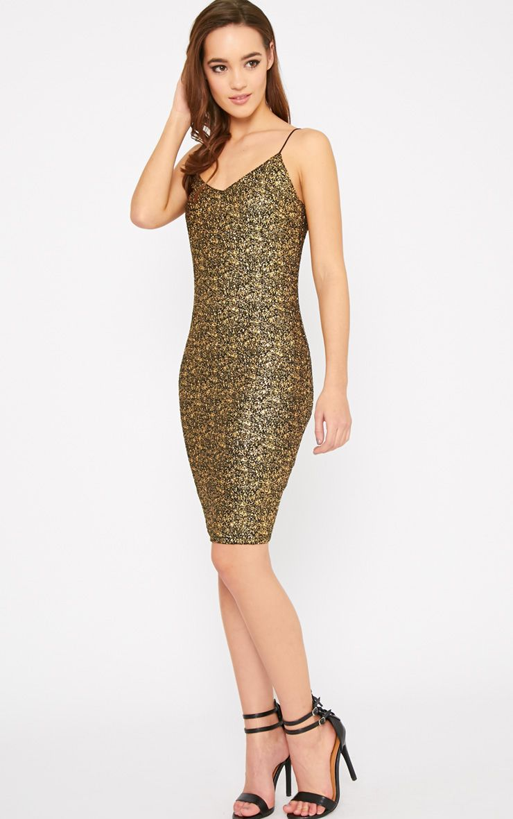 Hania Black Gold Flecked Mini Dress-XS 1