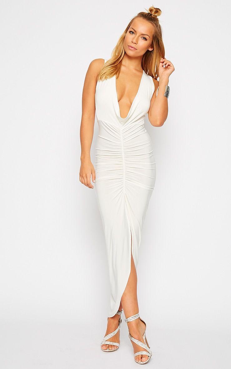 Meghan Cream Slinky Ruched Maxi Dress 1