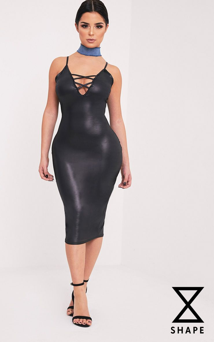 Shape Joleene Black Wet Look Plunge Midi Dress