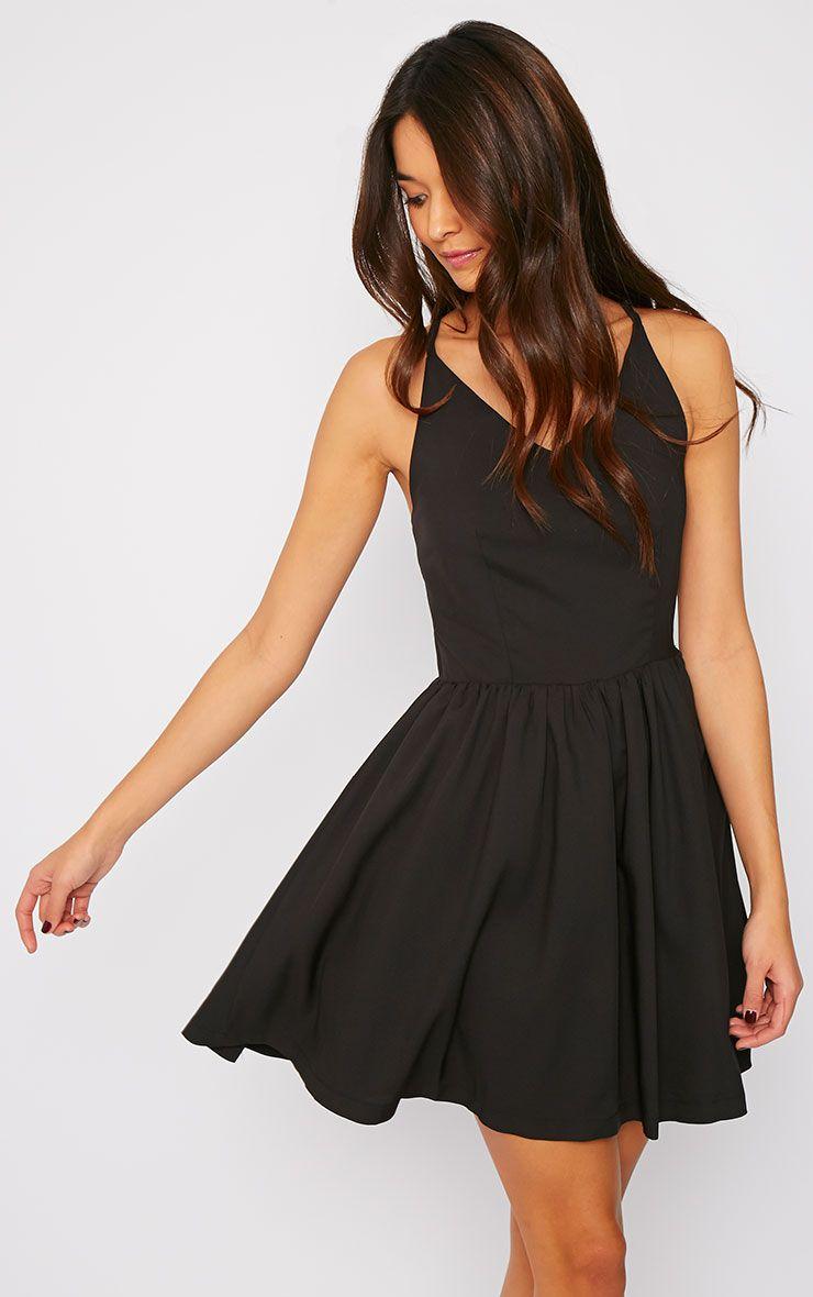 Issy Black Cross Strap Skater Dress 1