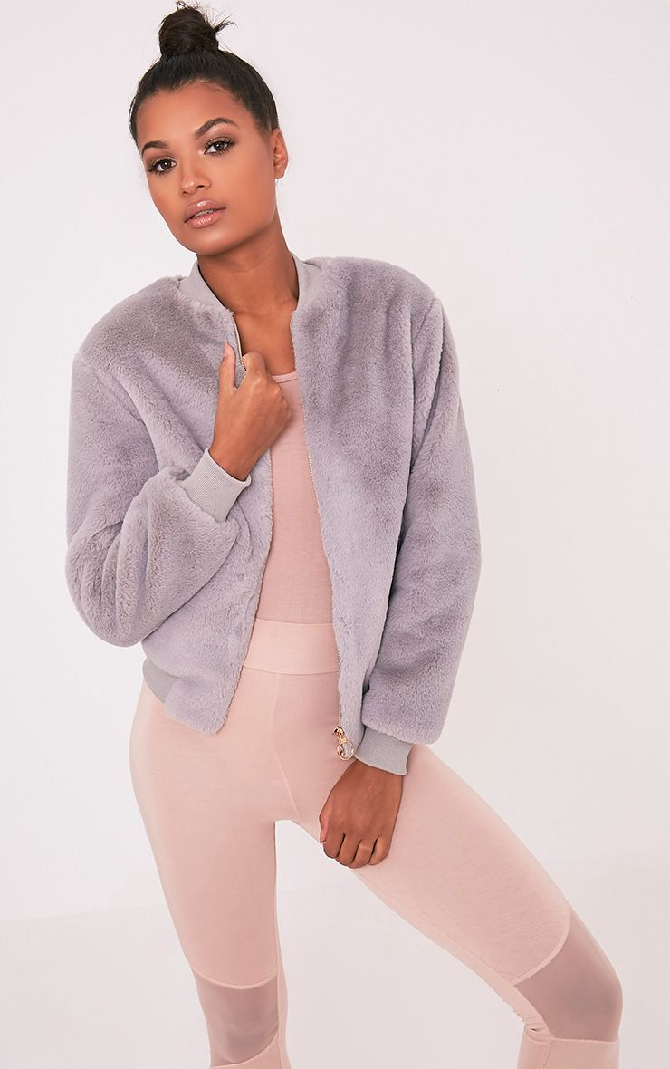 Jessenia Grey Soft Faux Fur Bomber Jacket