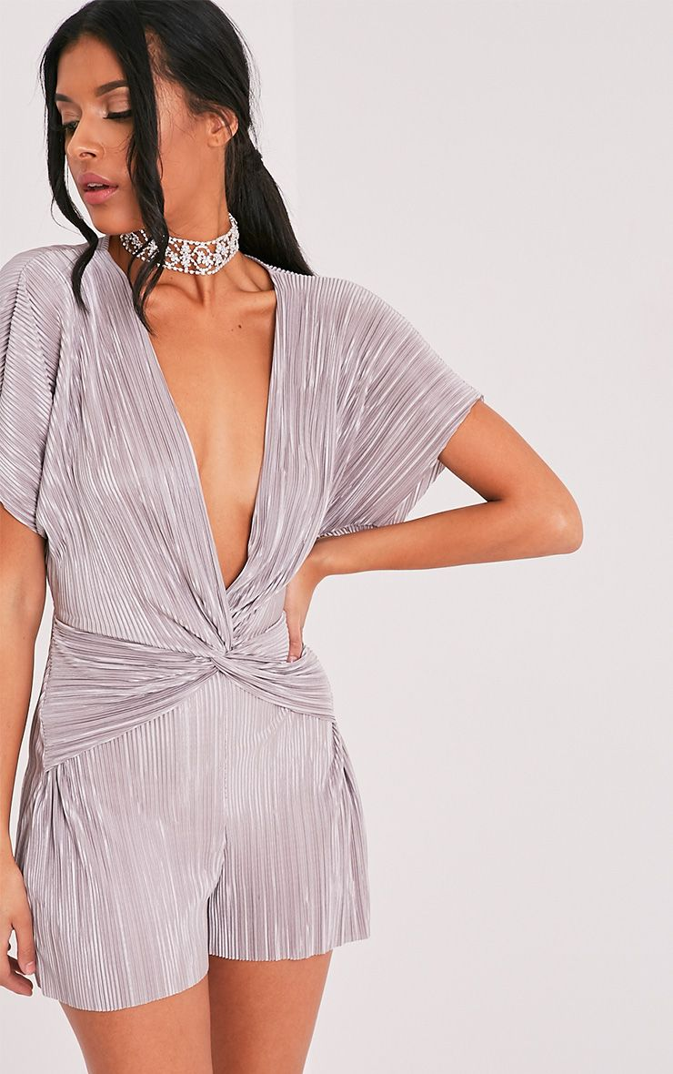 Tilly Grey Pleated Knot Front Playsuit