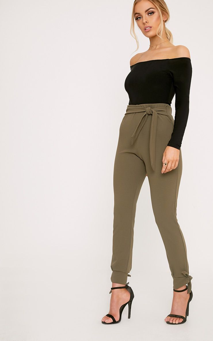 Detta Khaki Tie Detail Fitted Trousers