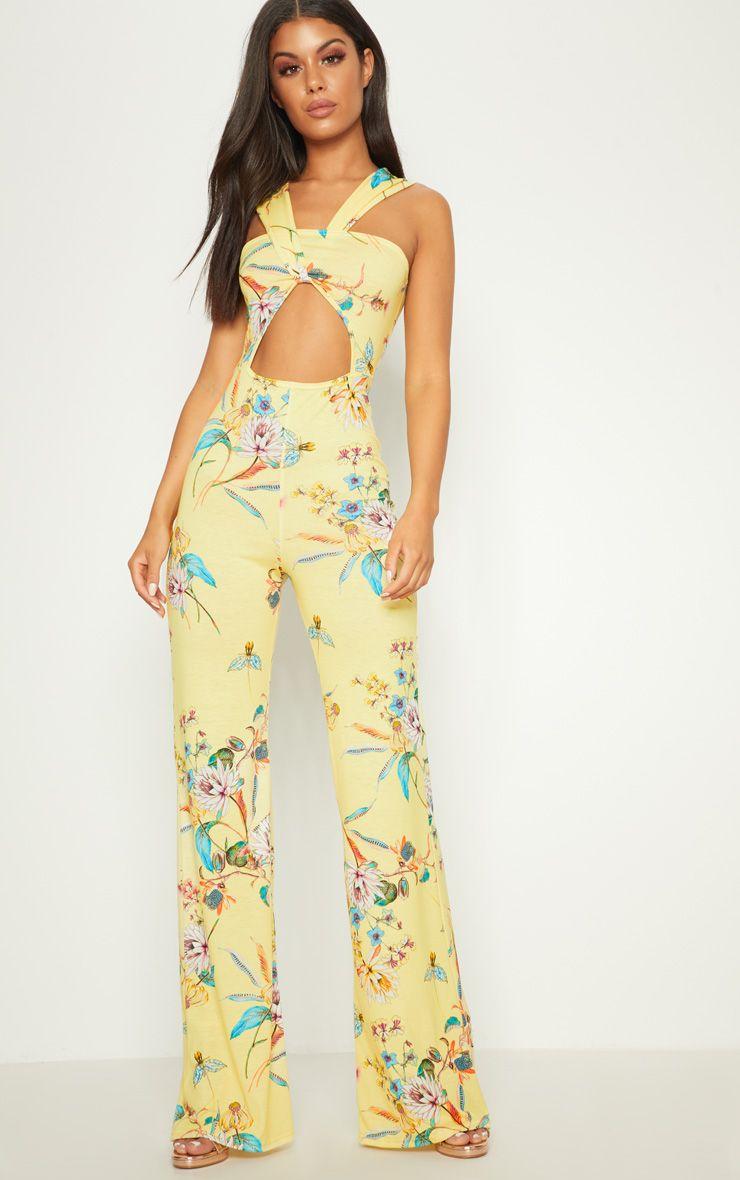 Lemon Floral Jersey Twist Front Jumpsuit