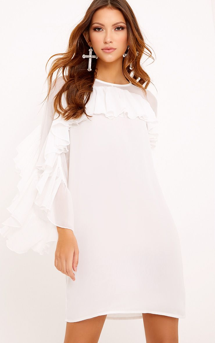 Maariah Mesh Frill Shift Dress White