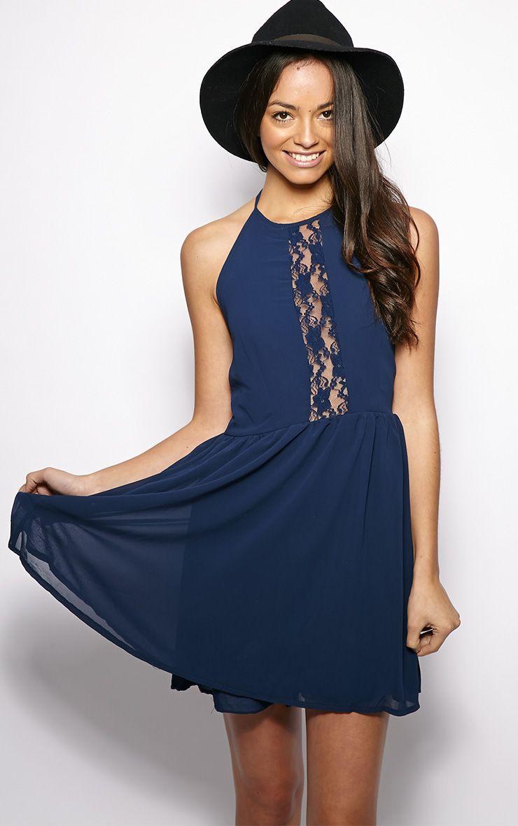 Lisa-Ann Navy Lace Panel Halterneck Dress 1