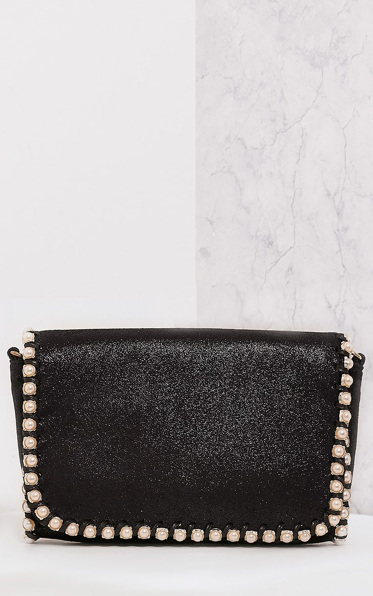 Seiena Black Pearl Trim Clutch