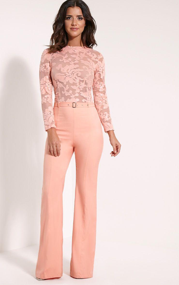 Lindie Peach Sequin Pattern Jumpsuit 1