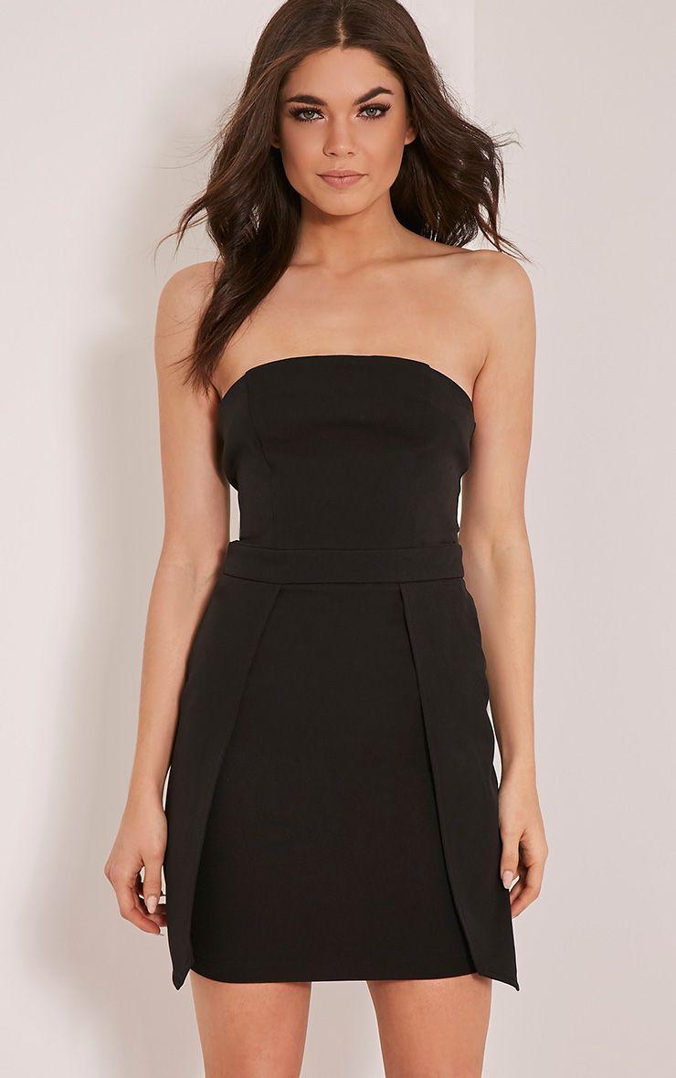Jonna Black Crepe Bandeau Mini Dress 1