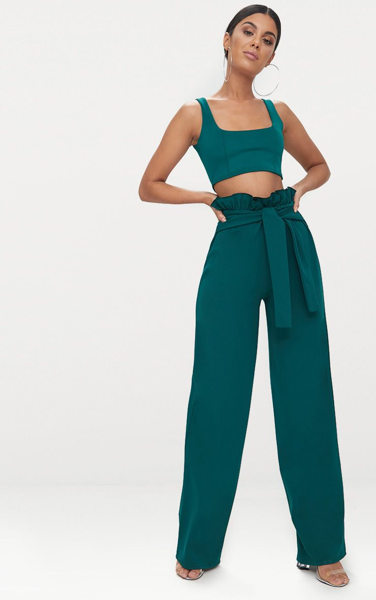 Forest Green Crepe Paperbag Wide Leg Trousers