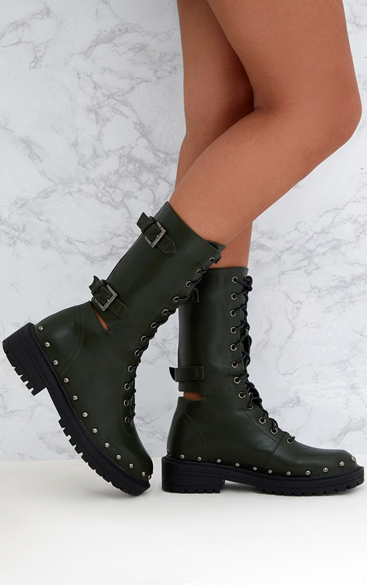 Khaki Chunky Hard Wear Lace Up Ankle Boots